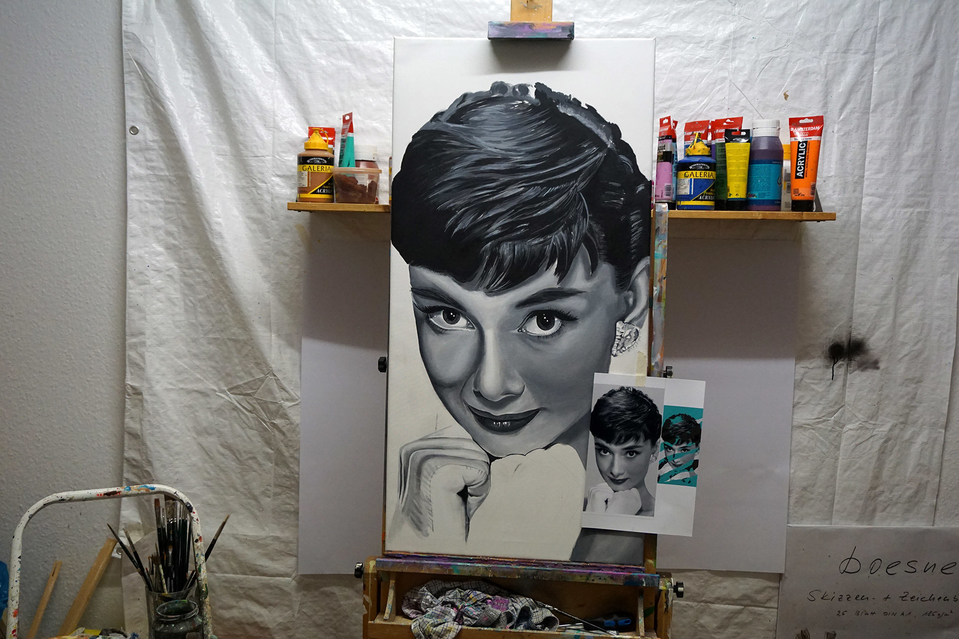 Audrey Hepburn painting Oliver Ende work in progress