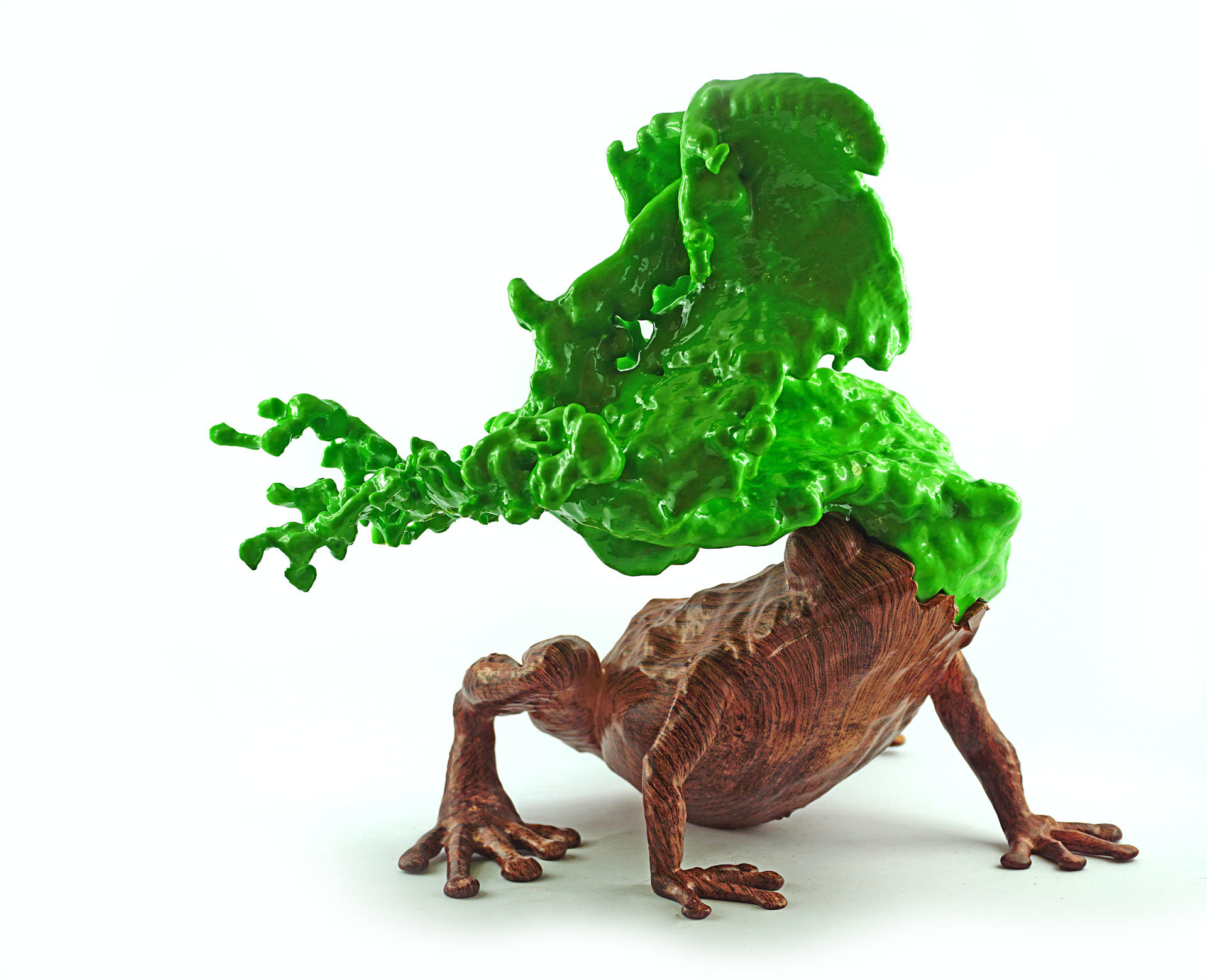 liquid wooden frog 3d printed artwork by oliver ende